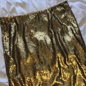 Ralph Lauren Gold Sequin Pencil Skirt Sz 12 NWT